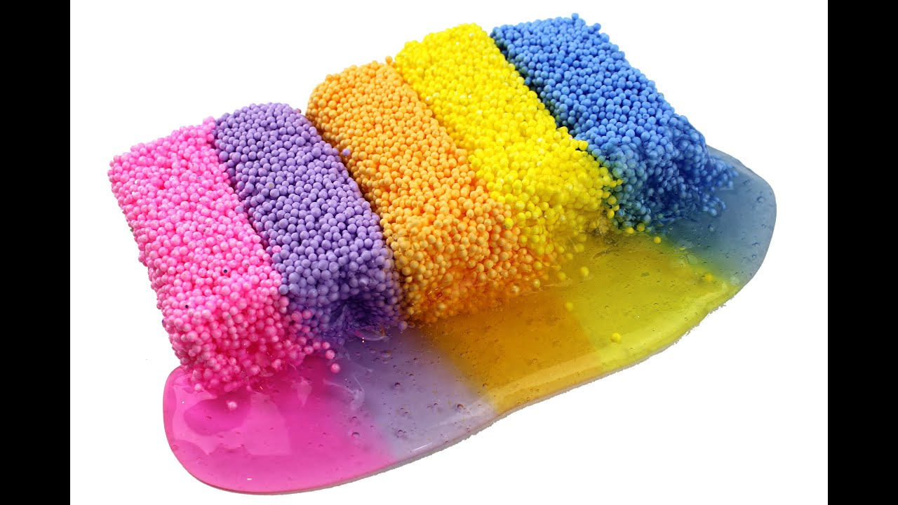 play foam and colorful slime playtime pink purple orange yellow blue