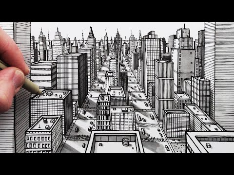 How To Draw A City Using 1 Point Perspective Pen Drawing Youtube