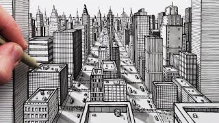 How To Draw A City Using 1-Point Perspective: Pen Drawing