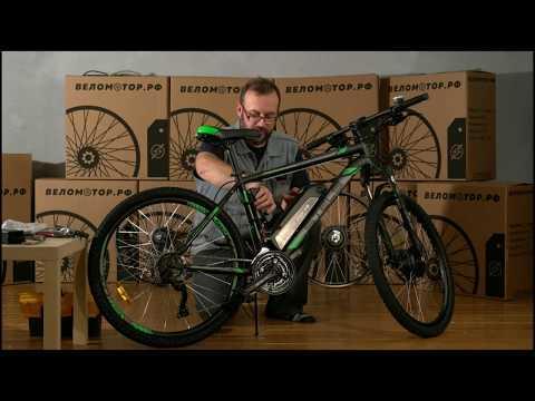Установка комплекта мотор-колесо на велосипед на переднее колесо.