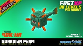 Guardian Farm | XP Farm & AFK Tutorial | Minecraft Bedrock Edition (MCBE / MCPE)