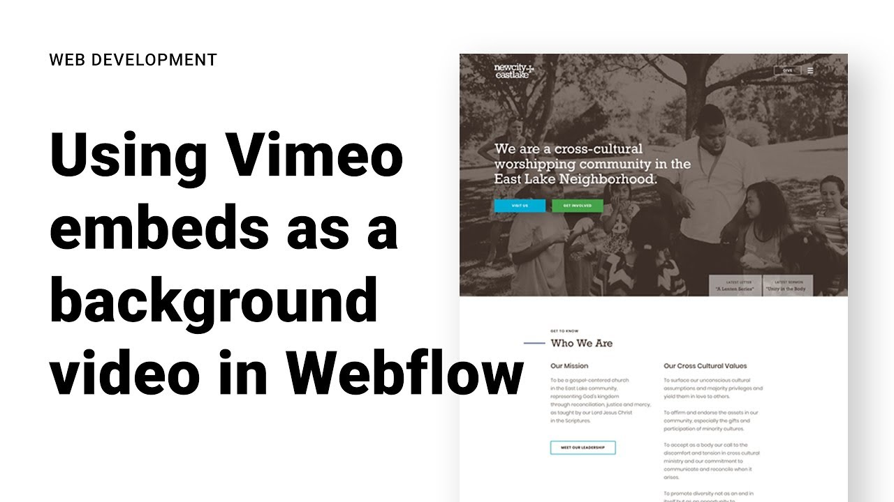 Using a Vimeo Embed as a Background Video in Weblow