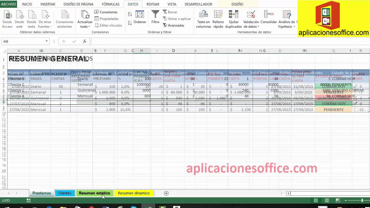 Plantilla Excel préstamo dinero avanzado o paga diario - YouTube