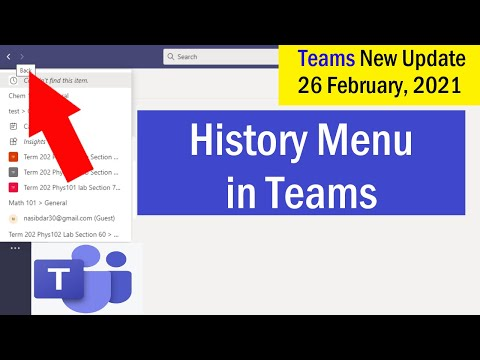 History Menu in Microsoft Teams   New Features in Microsoft Teams for 2021   #MicrosoftTeams