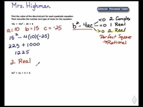 Use the Discriminant to Describe Roots - YouTube