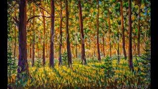 Солнечный лес | Как нарисовать лесной пейзаж акрилом - УРОК РИСОВАНИЯ