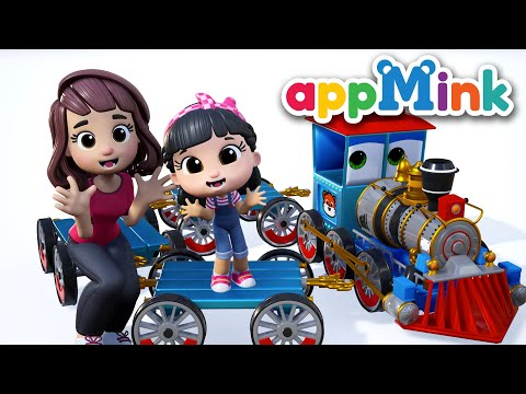 choo-choo-train-|-fire-truck-song-ft.-crane-truck-yellow-school-bus|-learn-abc-#appmink-kids-nursery