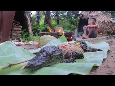 Primitive Technology with Survival Skills looking Crocodile for food - Top finding Crocodile
