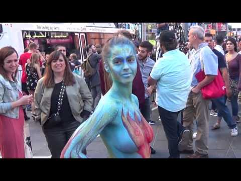 Body Painting In Times Square Filmed On Sa Ay June