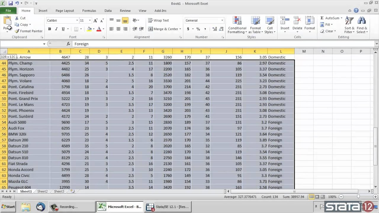 Copy/paste data from Excel® into Stata®