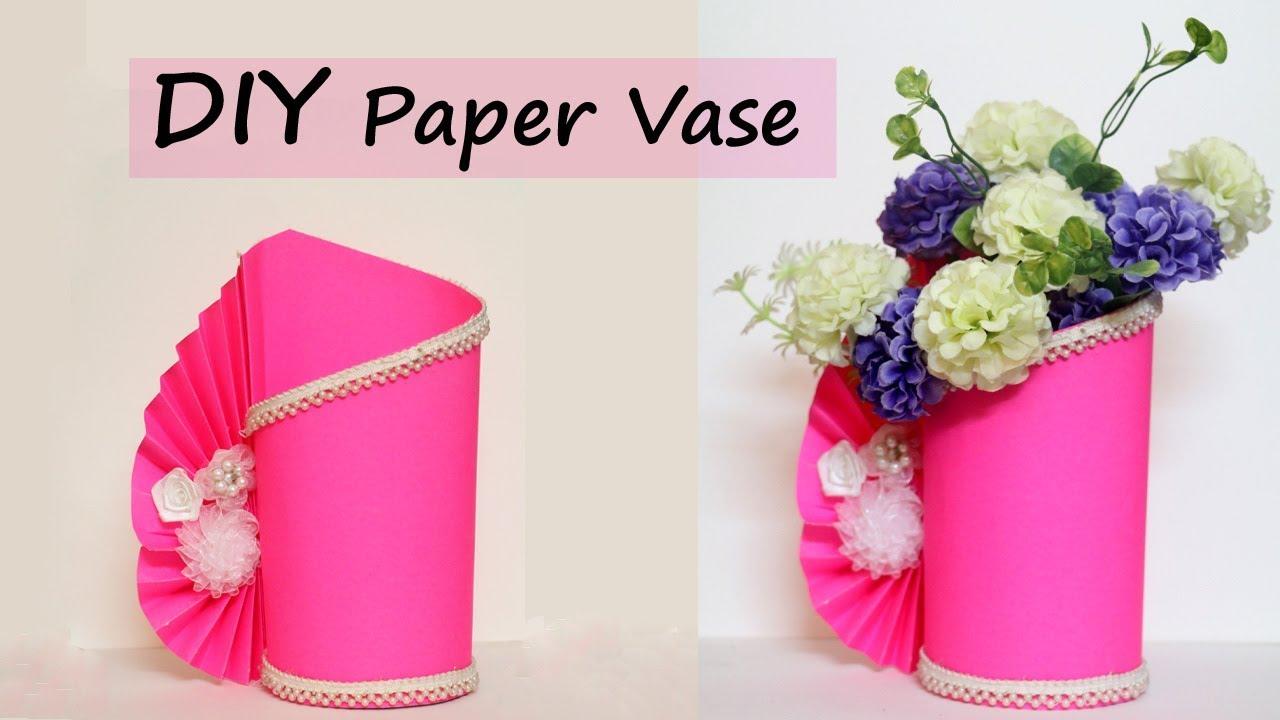Paper Flower Vase Making Easy Paper Craft Diy Home Decor Ideas
