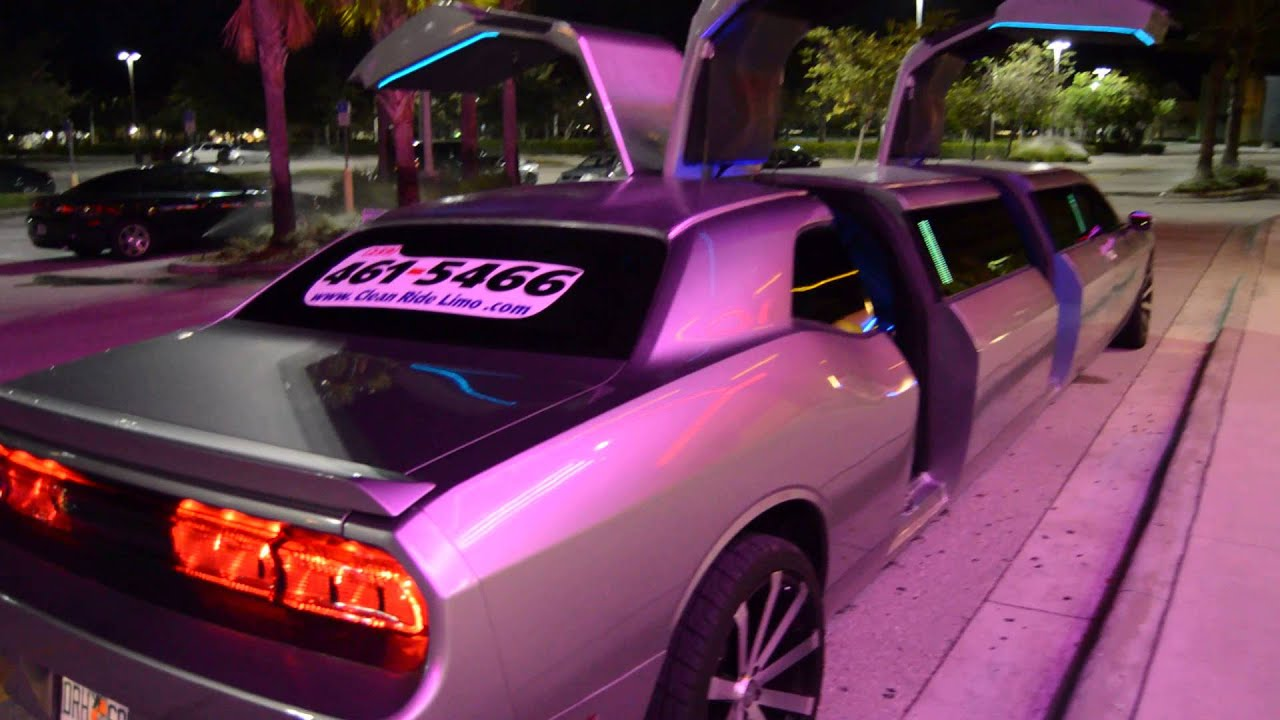 New Dodge Challenger Limo Clean Ride Limo drive doors open
