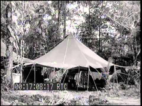 SCENES OF lst MARINE AMPHIB. CORPS HOSPITAL CAMP; EVACUATION PLANES ON STRIP, VELLA LAVELLA