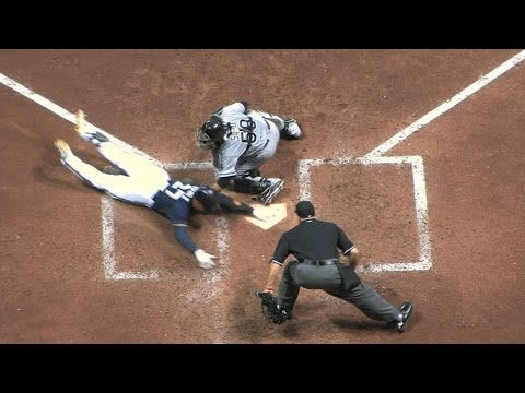 Carlos Gomez triples, scores on error