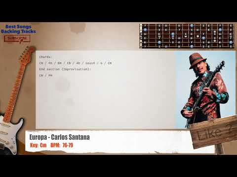 Europa - Carlos Santana Guitar Backing Track with chords