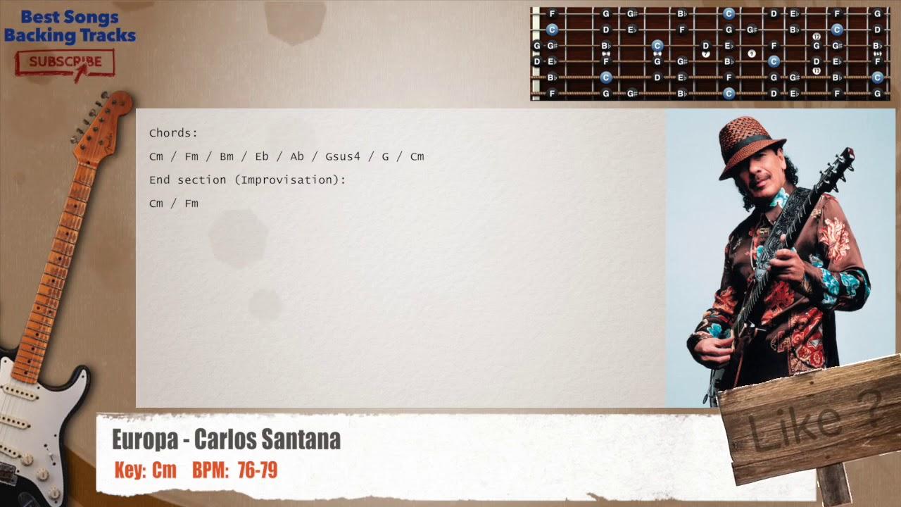 Europa Carlos Santana Guitar Backing Track With Chords Youtube