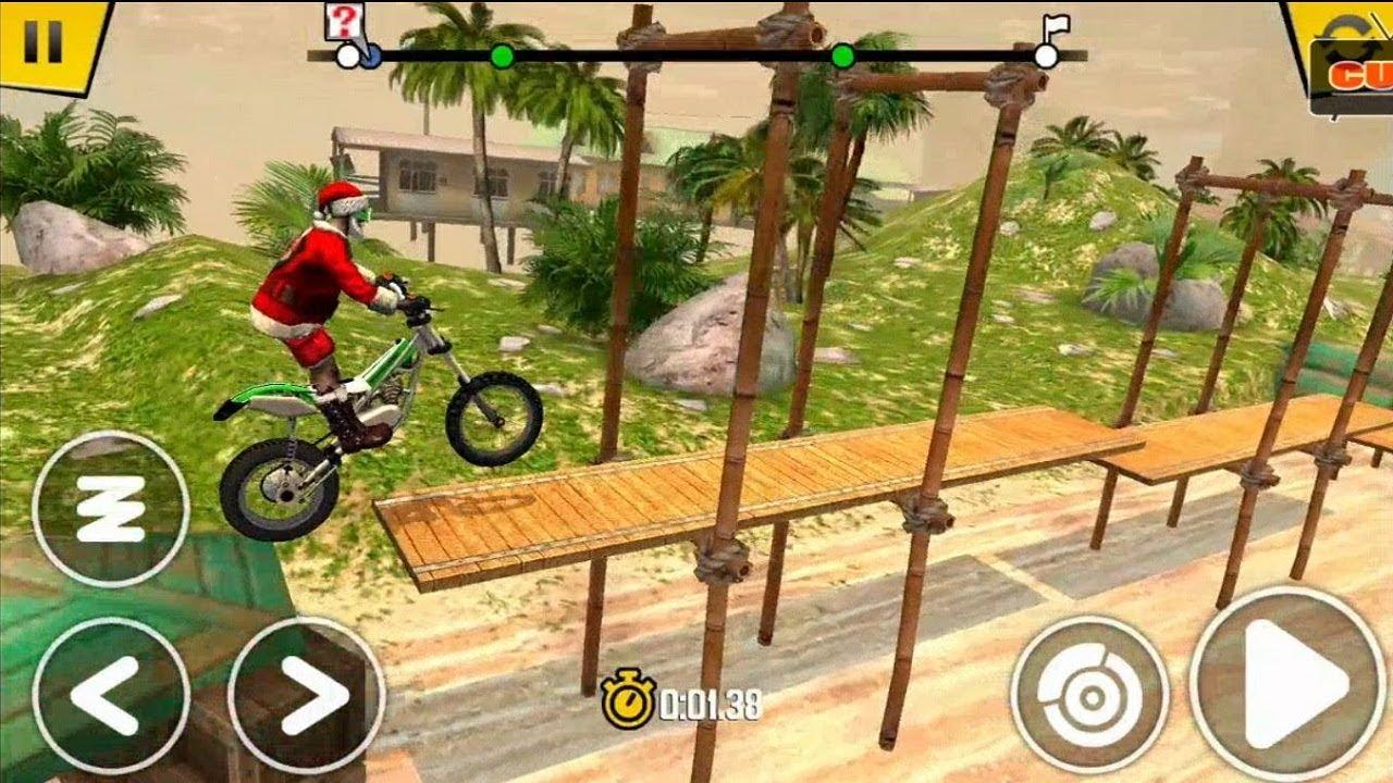 Trò chơi lái xe mô tô nhào lộn với ông già noel - Cu lỳ chơi game Trial Xtreme lồng tiếng vui nhộn