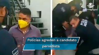 El candidato a diputado local por el distrito 28 del PRD, Víctor González Ruiz, fue golpeado por varios uniformados luego de participar en un incidente vial