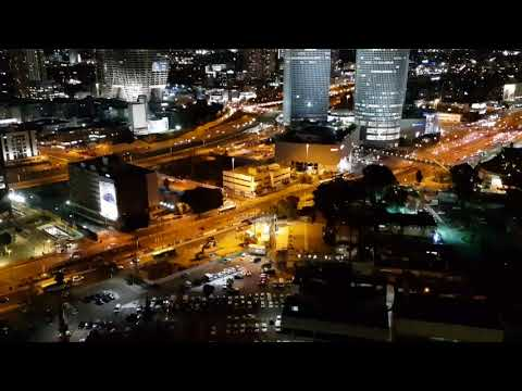 The Wonderful Skyline Of Tel Aviv, Israel At Night Time. A City That Never Goes To Sleep