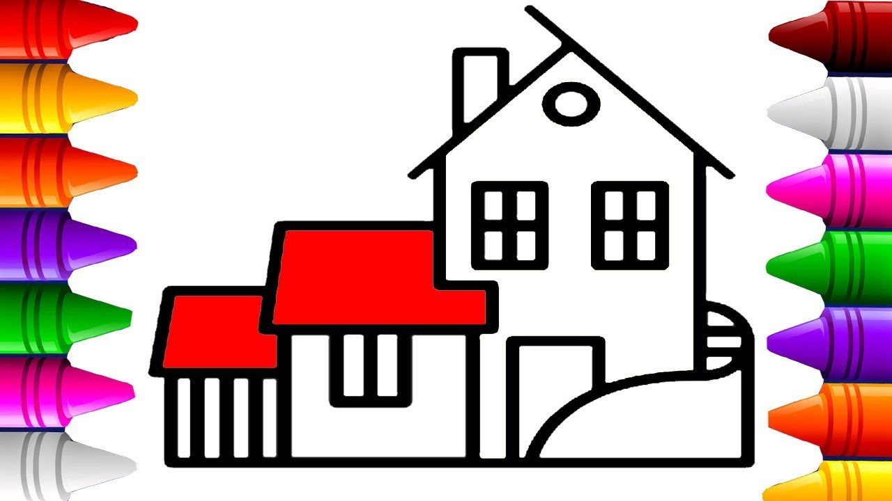 How to draw house villa house coloring pages