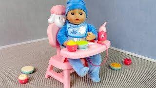 #Куклы НОВЫИ  Интерактивныи  СТУЛЬЧИК Для Кормления Мультик для девочек Мама Маша и Беби Бон Эмили