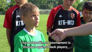 What's racism in youngers serbian football players?
