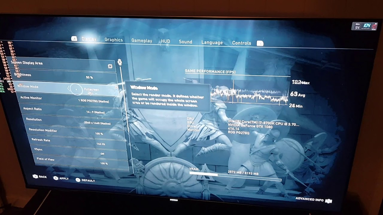 Gamestream continously blinks a game's settings menu while playing