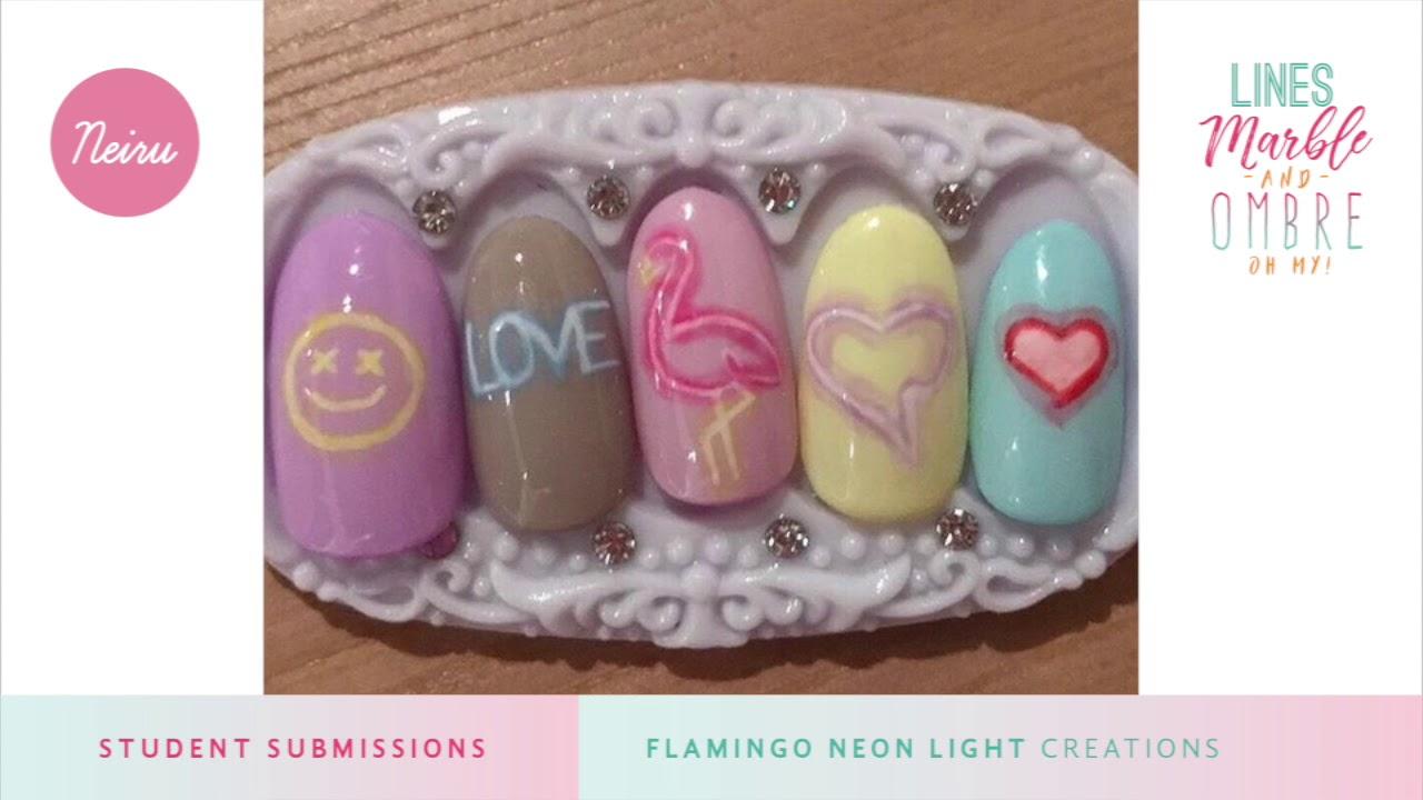 Neiru Workshop Challenge Flamingo Neon Lights Nail Art Submissions