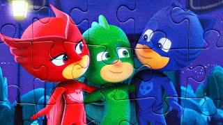 Герои в Масках настоящие друзья собираем пазлы для детей с героями мультика PJ Masks