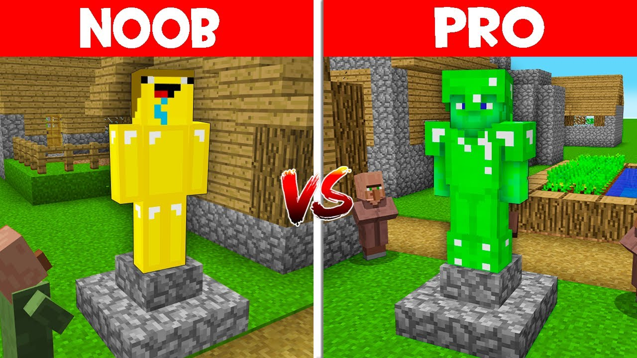 Minecraft NOOB vs PRO: NOOB BUILD THIS GOLD NOOB STATUE vs PRO BUILD EMERALD PRO STATUE! (Animation)
