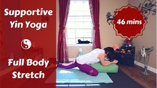 Supportive Full Body Yin Yoga for Tired Days | Yin with a Bolster {45 mins}