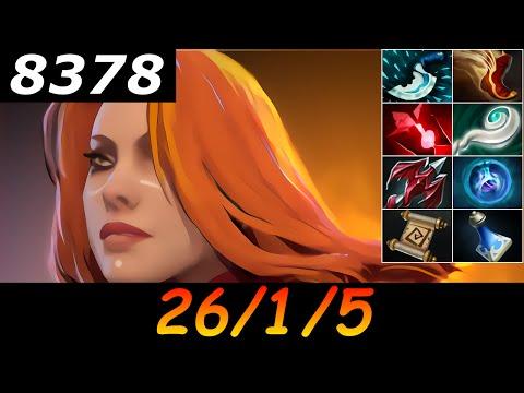 Dota 2 Lina 8378 MMR 26/1/5 (Kills/Deaths/Assists) Ranked Full Gameplay