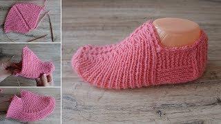 Бесшовные удобные следки спицами | Seamless slippers knitting pattern