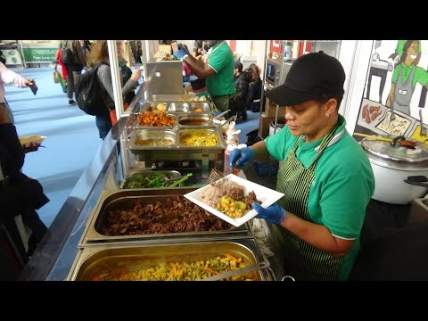 """Jamaican Food by """"Brownins"""" + Creole Food by """"Global Fusion Vegan Creole"""" at Vegan Life Live London."""