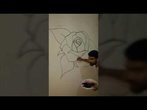 رسم الورود تلاتي الابعاد على الحائط Youtube