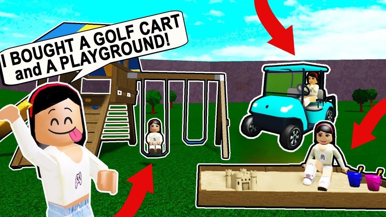 Bloxburg Update Buying The New Golf Cart Playground Items