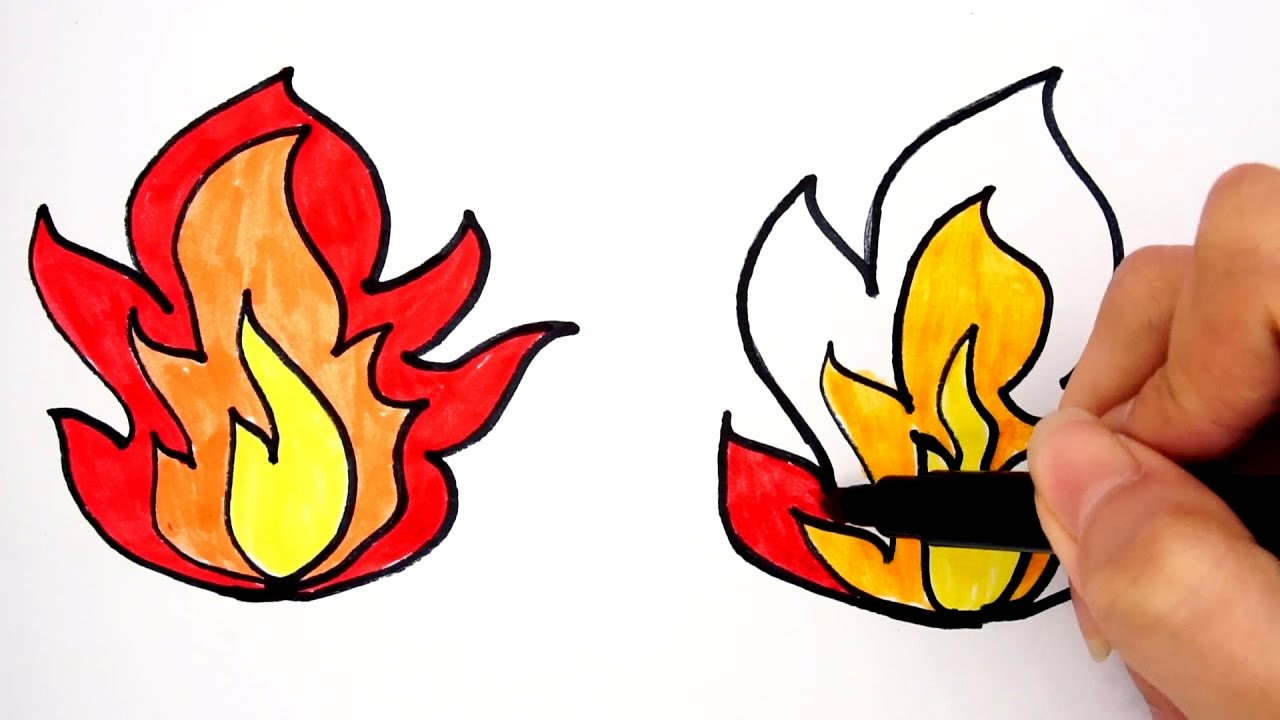 how to draw fire learn to draw and coloring fire easy in few
