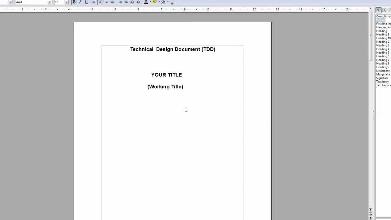 How to make and write a tdd technical design document for Technical approach document template