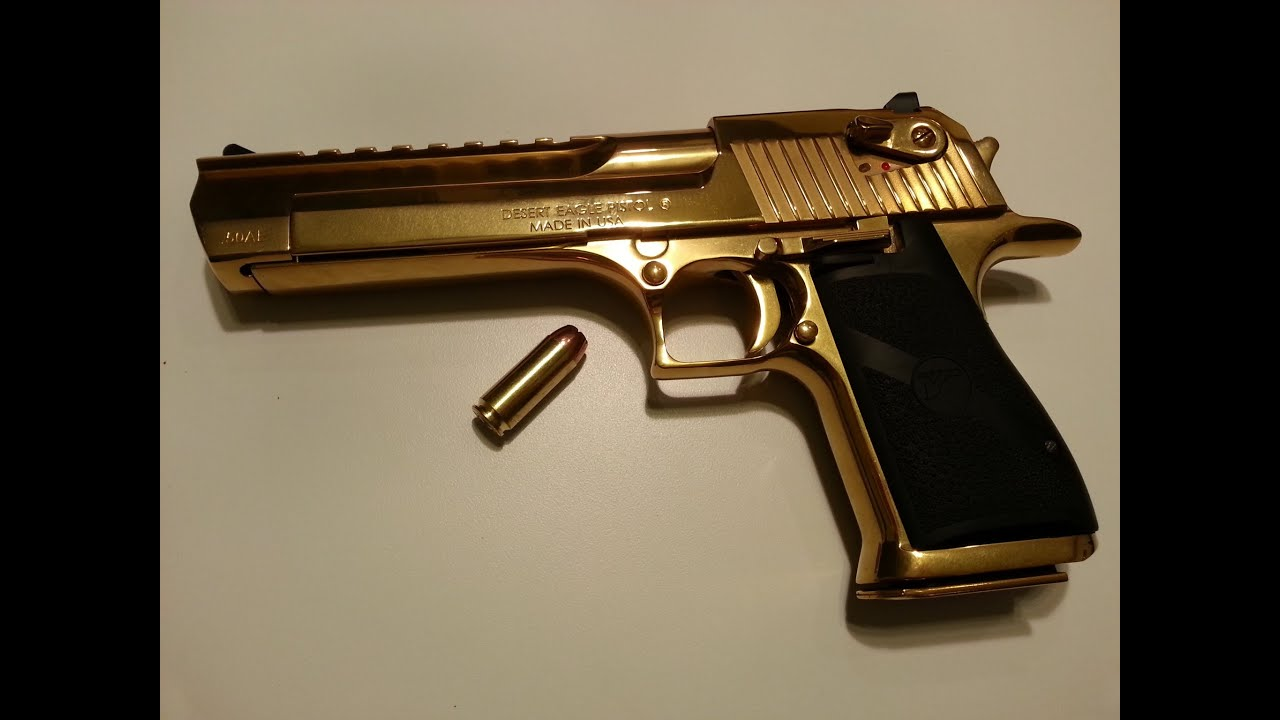 Shooting The Gold Desert Eagle .50AE One Handed!!!! - YouTube