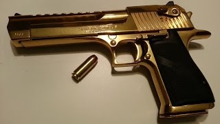 Shooting The Gold Desert Eagle .50AE One Handed!!!!