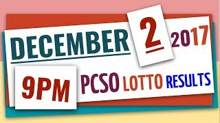Lotto Results December 2, 2017 at 9:00 pm (Evening draw) ft 6-55, 6-42, 6D, EZ2 & Swertres