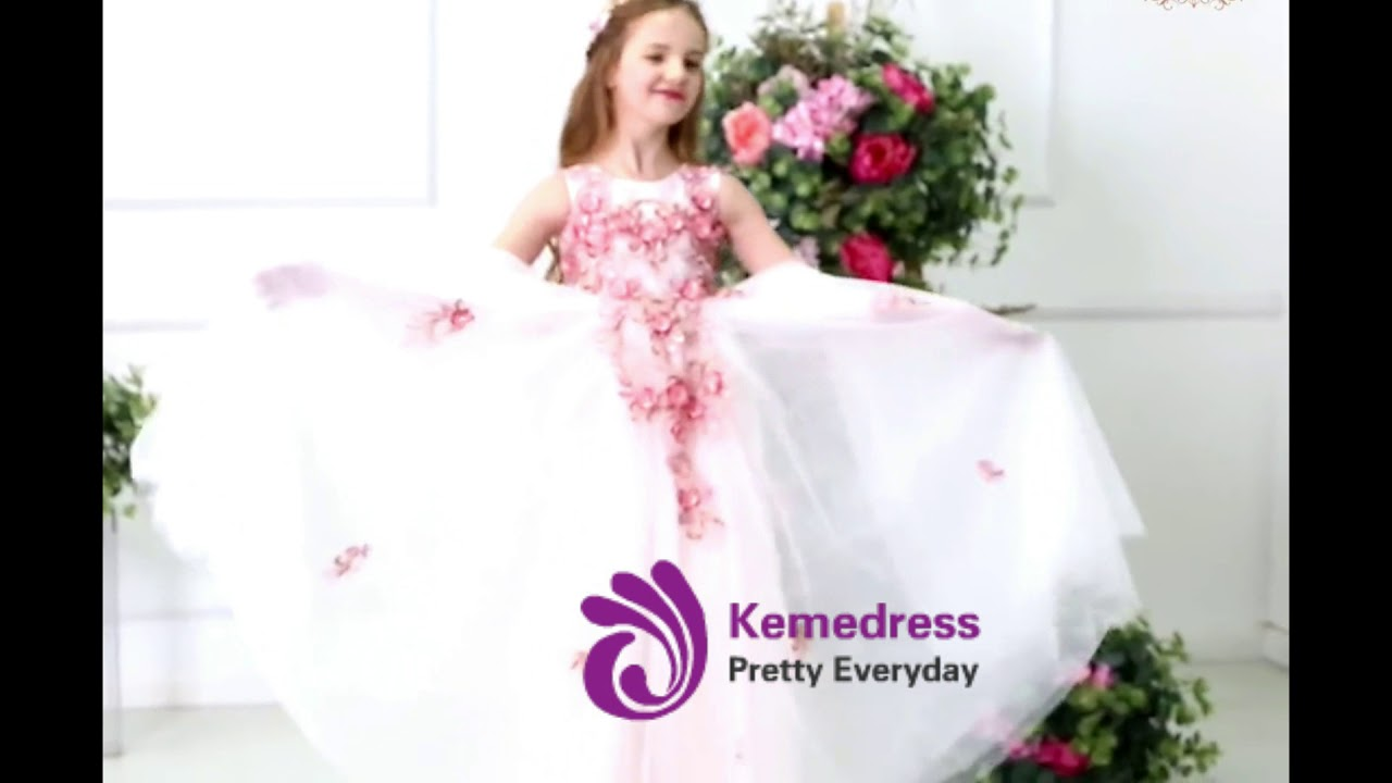 Kemedress A Line Princess White Tulle Pink Appliques Flower Girl