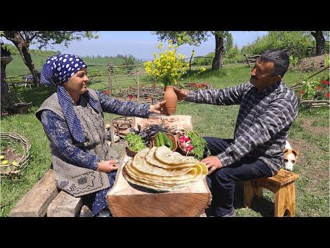 Making Traditional Caucasian 100% Organic Dish, Göy Kətəsi, Organic Food