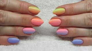 Colorfull ombre nails  Kolorowe cieniowane paznokcie  NeoNail