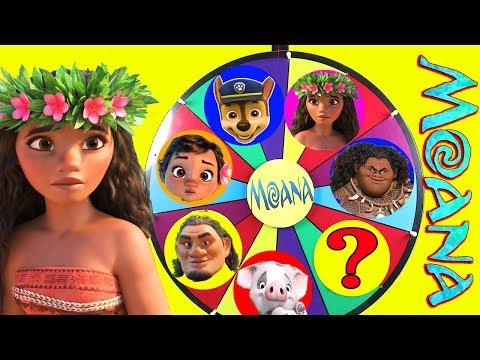 Disney Moana Mega Wheel Game with Paw Patrol Skye, Maui, LOL Surprise Emoji | Ellie Sparkles