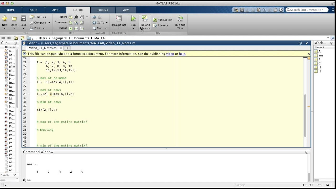 MATLAB Video 11: min and max functions