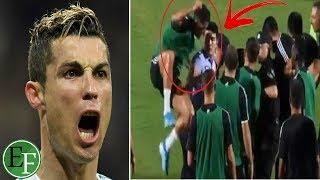 شاهد بالفيديو.. رونالدو يقفز على شرطي ويضـ,ـربه بكتفه لتحرير أحد المشجعين