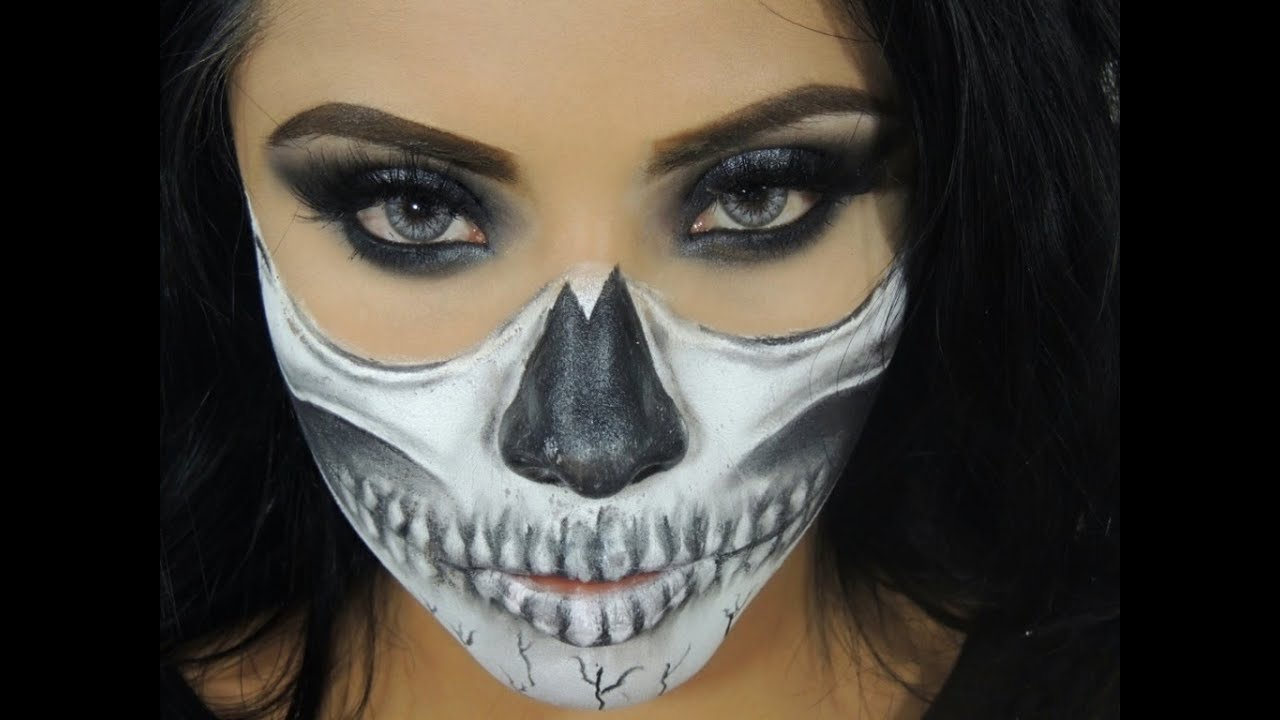 Halloween Makeup Tutorial Sexy Half Skull Face - YouTube