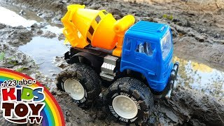Monster trucks in mud 🚚 Cars help each other Dump truck and Mixer truck TaTaToyzzz