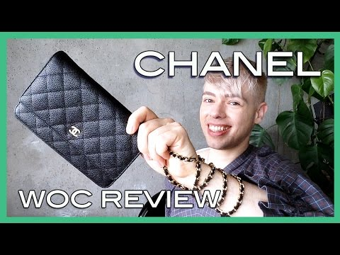review CHANEL wallet on chain WOC black caviar leather with gold hardware